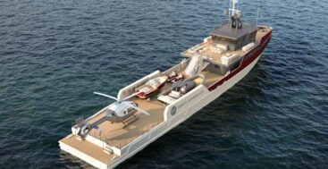 the Rosetti 55-Meter Support Vessel is a rugged megayacht