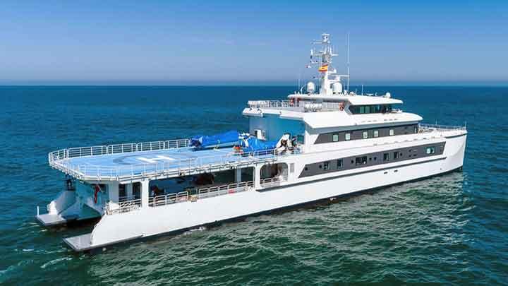 Wayfinder is a ShadowCat, a superyacht support vessel