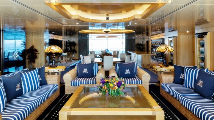 a beautiful superyacht beach club is among the things you'll see during a look inside Lady Moura