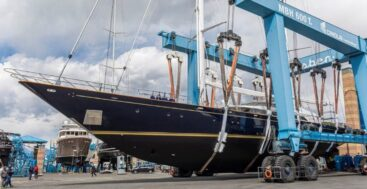 the sailing superyacht Morning Glory received a refit at Lusben
