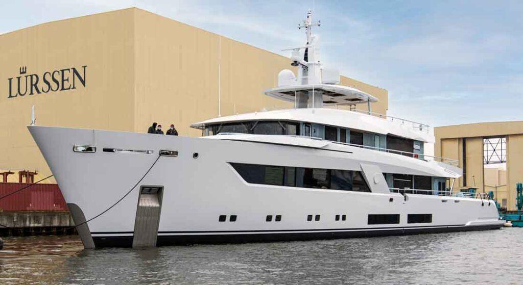 the Lurssen megayacht Project 13800 launched in April 2021