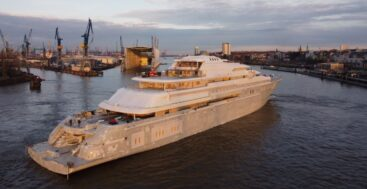 the megayacht code named Project Opera moved sheds at Lurssen