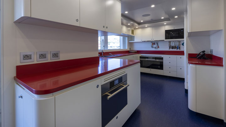 the superyacht Crowbridge has a colorful galley