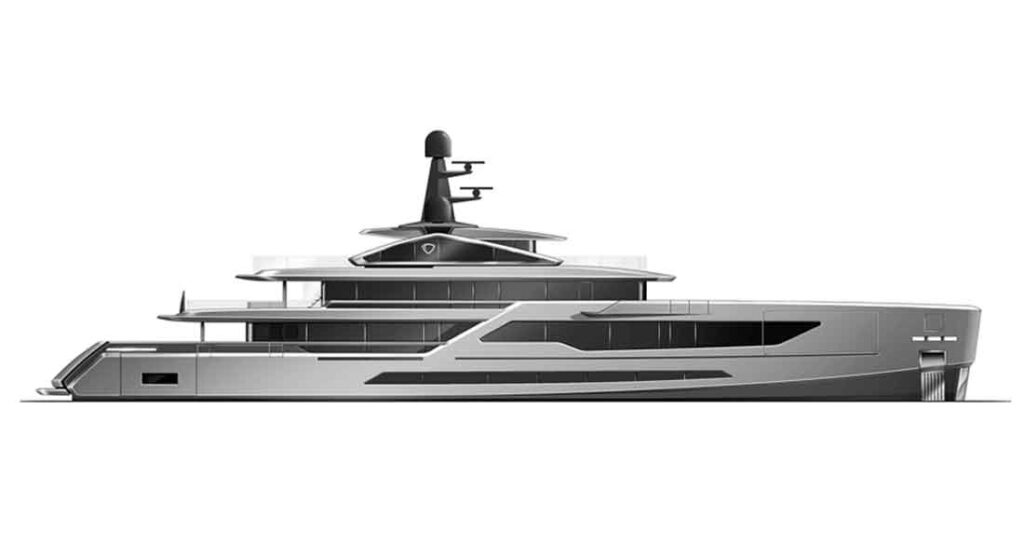 the Tankoa T580 megayacht will launch in 2024