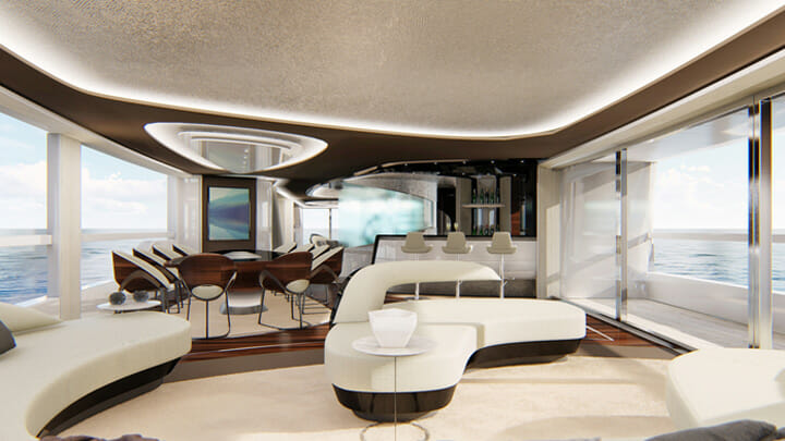 the Atlante Yachts Mistral 41 is a megayacht available with a Penthouse-style design