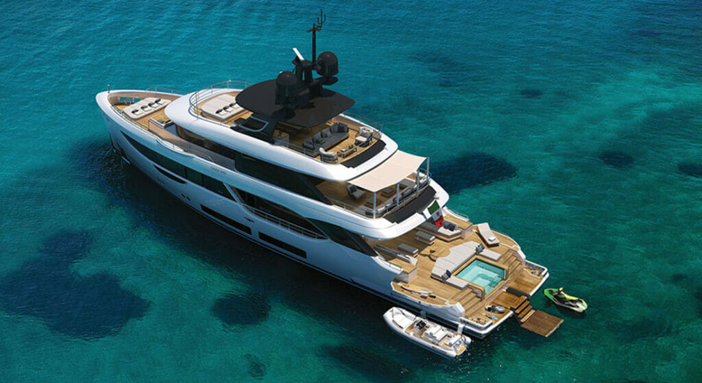 the Benetti Oasis Deck is a feature on the new Oasis 34M megayacht