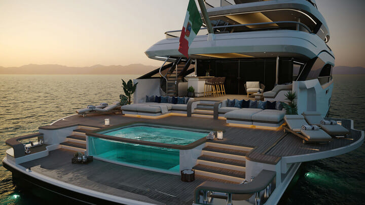 the Benetti Oasis Deck as seen aboard the B.Now 50M megayacht