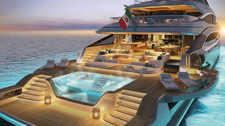 the Benetti Oasis Deck as seen aboard the B.Now 66M megayacht