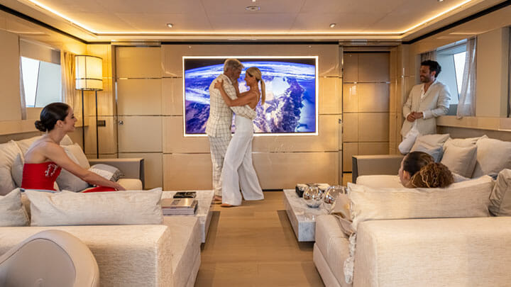 K2 is a megayacht from Columbus Yachts with an 85-inch upper deck TV