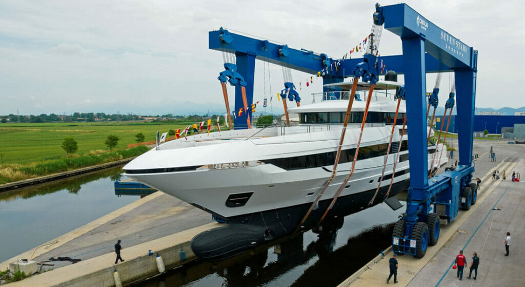 the Mangusta Oceano 50 launch took place on June 5 for megayacht clients of Moran Yacht & Ship