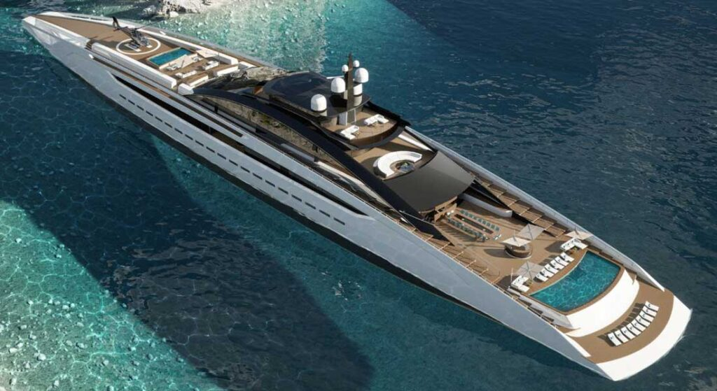Project Sunrise is a massive megayacht from Roberto Curto, 135 meters/443 feet in length