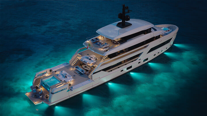 the Sanlorenzo X-Space is a 44-meter megayacht