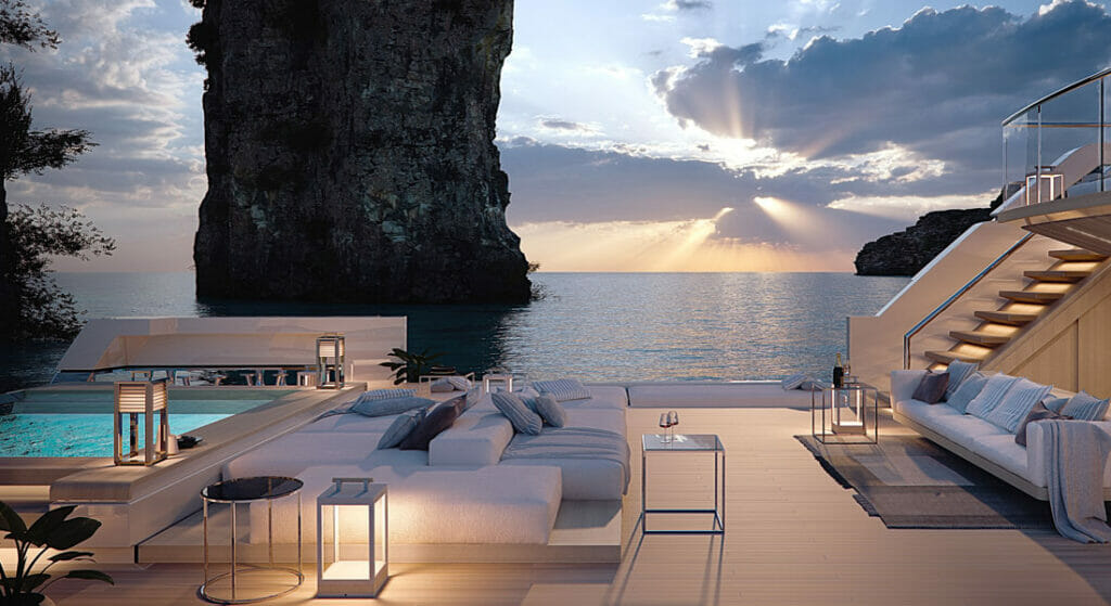 the Sanlorenzo X-Space is a superyacht with an open-air living room