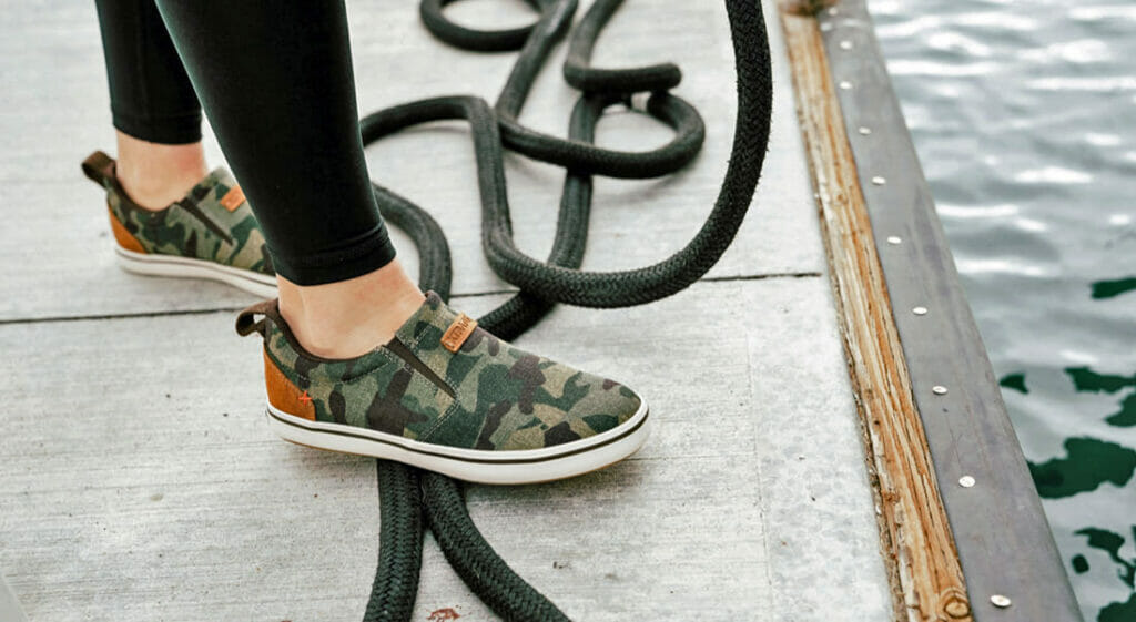 Sharkbyte deck shoes are fashionable enough for megayacht customers to want to wear