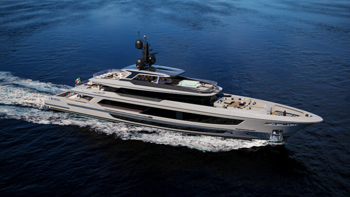 the Baglietto T52 megayacht features styling by Francesco Paszkowski