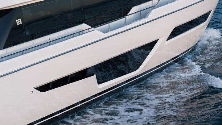 the restyled Ferretti Yachts 780 megayacht has big hull windows