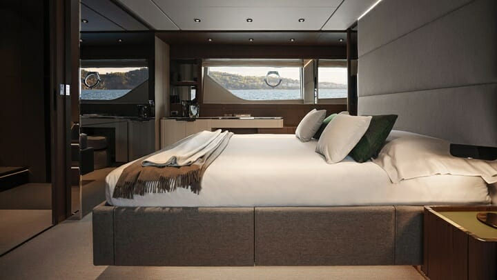 the restyled Ferretti Yachts 780 megayacht offers interior decor choices