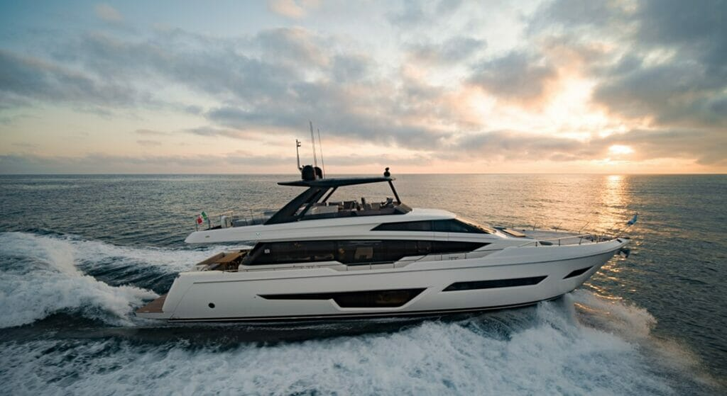 the restyled Ferretti Yachts 780 megayacht has several design changes