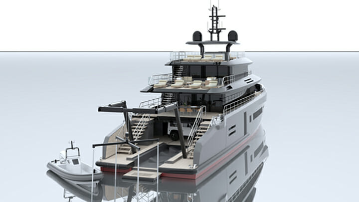 Studio Sculli's MSS 44 megayacht is equipped with an A frame crane