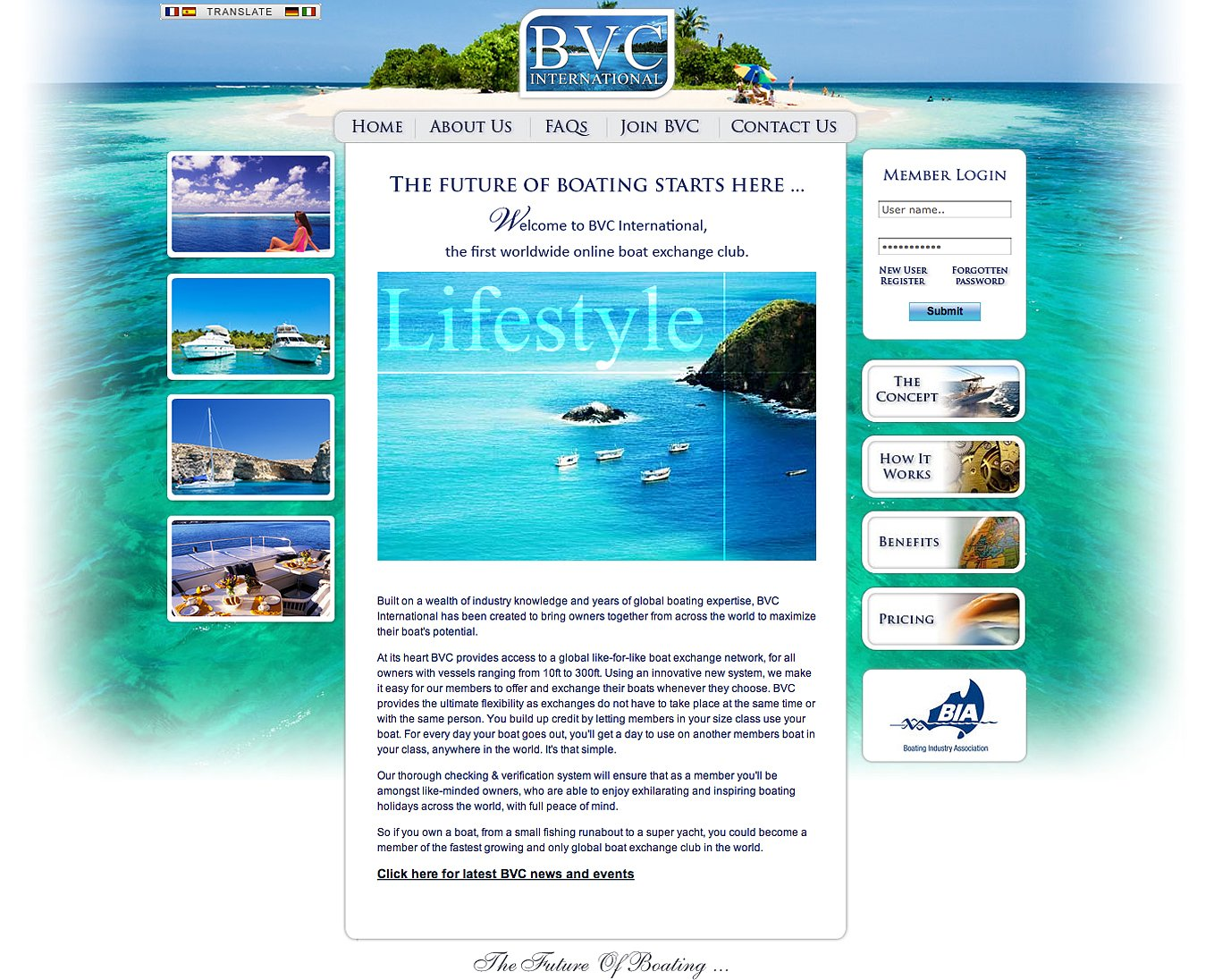 BVC International homepage